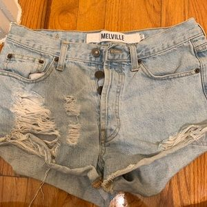 Brandy Melville Destroyed Light Denim Shorts 40